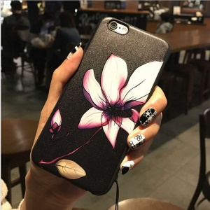 Embossed Flower Pattern Matte TPU Mobile Phone Case for iPhone 6s / 6 - Lotus