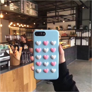 3D Love Hearts TPU Soft Back Case for iPhone 8 Plus / 7 Plus 5.5 inch - Blue