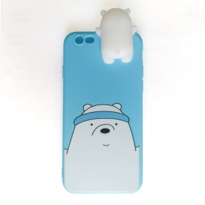 3D Doll White Bear Wrapped Edges TPU Case for iPhone 6s 6 - Blue