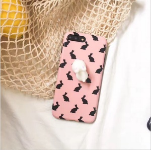 Squishy 3D Soft Silicone Rabbit IMD Silicone Squishy Phone Case for iPhone 7 Plus - Pink