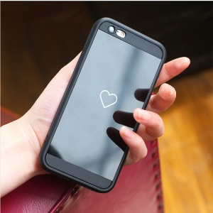 Love Heart Patterned Mirror-like TPU Back Mobile Phone Case for iPhone 6/6s - Black