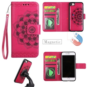 Imprinted Flower Pattern Detachable 2-in-1 TPU+PU Leather Stand Wallet Phone Cover for iPhone 8 / 7 4.7 inch - Rose