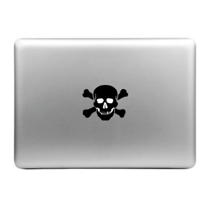 "HAR PRINCE Creative Decal Sticker for MacBook 11.6"" 12"" 13.3"" 15.4"" - Black Skull on White Background"