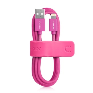 MOMAX Elite MFI Woven Lightning 8pin USB Charge Data Sync Cable for iPhone iPad iPod - Rose