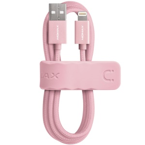 MOMAX Elite MFI Woven Lightning 8pin USB Charge Data Sync Cable for iPhone iPad iPod - Rose Gold Color