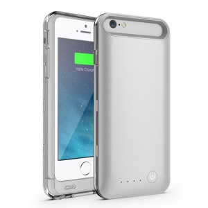 IFANS MFI Certified 3100mAh Battery Charger Case w/ Extra Bumper for iPhone 6s 6 4.7 inch - Silver / Transparent
