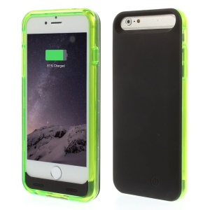 IFANS MFI Certified for iPhone 6 External Backup Battery Case 3100mAh w/ Extra Bumper - Black / Green