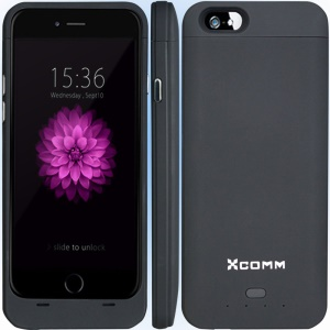 XCOMM MFI 3200mAh External Battery Pack Charger Case for iPhone 6s / 6 4.7 inch - Black