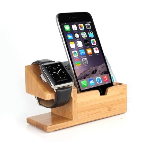 Wood Charging Cradle Stand Holder with Card Hole for Apple Watch, iPhone iPad Samsung
