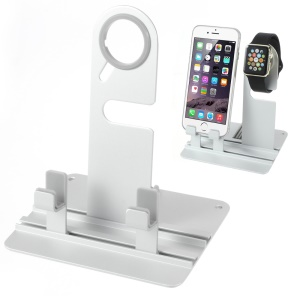 Silver Aluminium Alloy Watch Stand Mount for Apple Watch 38mm / 42mm / iPhone 6s 6
