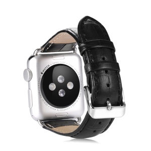 BENKS Genuine Leather Watch Band Wristband for Apple Watch Series 1 Series 2 Series 3 38mm - Black