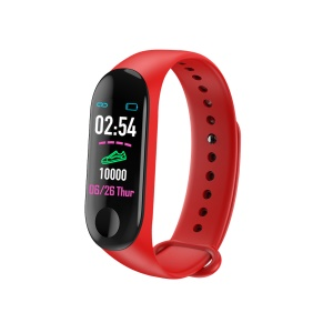 LD716-M3 Plus Color Screen Smart Wristband Heart Rate Blood Pressure Monitor Bluetooth Bracelet - Red