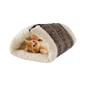 2-in-1 Cat Tube Cat Mat and Bed Dog Mat Pet Bed Cat Toy - Leopard Texture