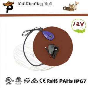 Electric Heating Pad Warming Pet Heat Mat with 7 Levels Adjustable Temperature for Dogs and Cats - Coffee / US Plug