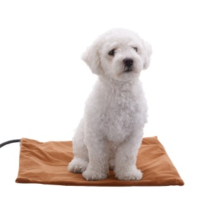 12V Pet Warm Heating Mat for Dogs Cats Safety Chew Resistant Cord Waterproof Surface - Coffee / US Plug