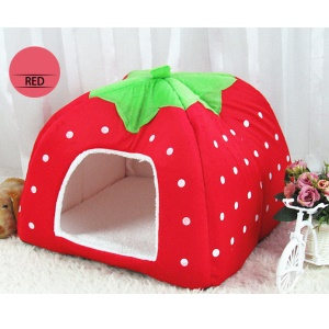 Strawberry Fluff Foldable Dog Bed House, L: 36 x 36 x 38cm - Red