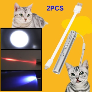 2Pcs/Lot 3-in-1 USB Recharging White Red UV LED Torch Interactive Pet Playing Toy
