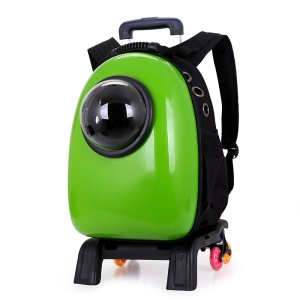 Space Capsule Breathable Carrier Travel Bubble Backpack Pet Carriers Bag with Wheels for Cats and Dogs - Green
