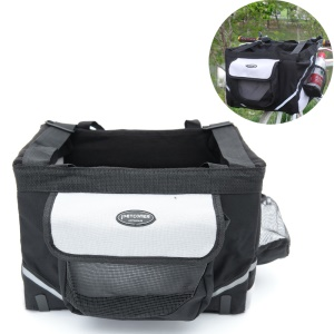 PETCOMER Bicycle Basket Travel Pet Carrier Bag for Dogs and Cats - Black