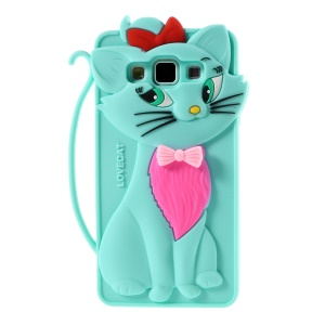 Adorable Cat Silicone Cover for Samsung Galaxy A5 SM-A500F - Blue