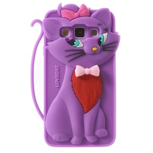 Adorable Cat Silicone Shell for Samsung Galaxy A3 SM-A300F - Purple