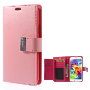 Mercury GOOSPERY Rich Diary Leather Wallet Shell for Samsung Galaxy S5 G900 / S5 Neo - Pink