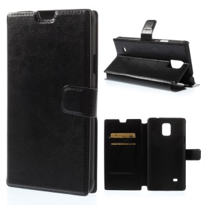 Black Crazy Horse Texture Leather Card Holder Case w/ Stand for Samsung Galaxy Note 4 SM-N910S SM-N910C