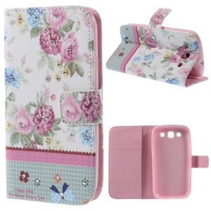 Peony Blossom Lace Rhinestone Leather Wallet Cover for Samsung I9300 Galaxy S III