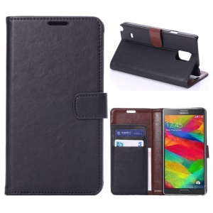 Crazy Horse Pattern Leather Stand Case w/ Card Slots for Samsung Galaxy Note 4 N910 - Black