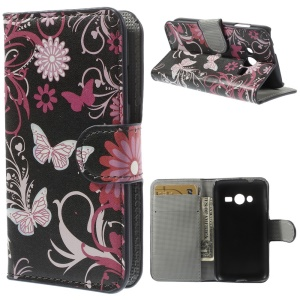 Butterflies & Flowers Wallet Stand Leather Skin Cover for Samsung Galaxy Ace NXT G313H