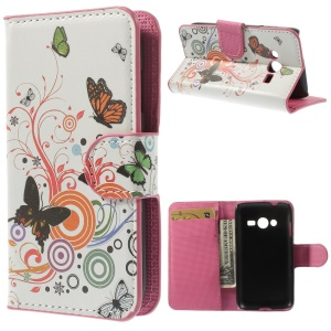Vivid Butterfly Circle Wallet Stand Leather Case for Samsung Galaxy Ace NXT G313H