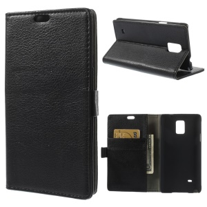 Litchi Leather Wallet Stand Case for Samsung Galaxy Note 4 N910 - Black