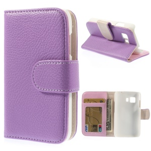 Purple for Samsung Galaxy Young 2 G130 Litchi Grain Leather Wallet Stand Shell