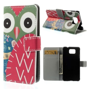 Owl and Deer for Samsung Galaxy Alpha G850F G850A Leather Wallet Bracket Shell