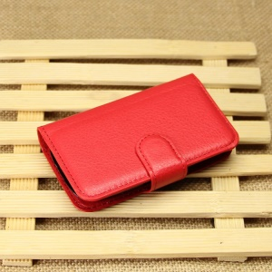 Litchi Textured Leather Wallet Bracket Cover for Samsung Galaxy Pocket Neo S5310 S5312 - Red