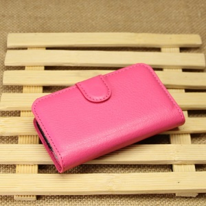 Litchi Textured Leather Wallet Bracket Cover for Samsung Galaxy Pocket Neo S5310 S5312 - Rose