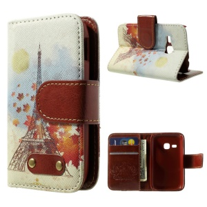 Eiffel Tower & Maple Leaf Leather Wallet Stand Case for Samsung Galaxy Young S6310