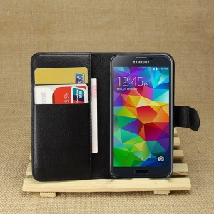 Lychee Leather Wallet Stand Case for Samsung Galaxy S5 mini SM-G800 - Black