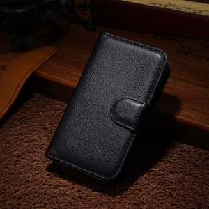 Litchi PU Leather Wallet Case w/ Stand for Samsung Galaxy Young 2 SM-G130 - Black