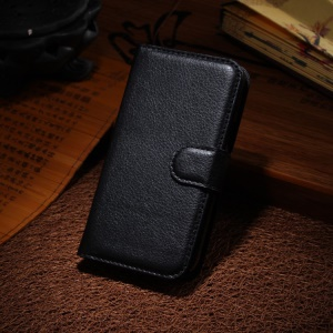 Lychee Leather Wallet Stand Case for Samsung Galaxy Star 2 Plus SM-G350E - Black