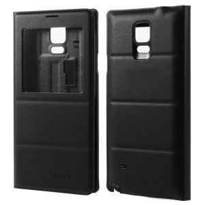 View Window Leather Flip Battery Door Cover for Samsung Galaxy Note 4 N910 - Black