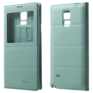 View Window Rear Housing Leather Flip Cover for Samsung Galaxy Note 4 N910 - Baby Blue
