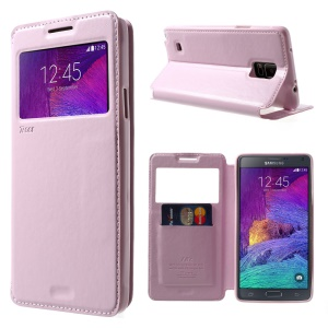 Roar Korea Noble View Leather Card Slot Cover for Samsung Galaxy Note 4 N910 - Pink