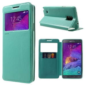 ROAR Noble View Leather Card Slot Case for Samsung Galaxy Note 4 N910 - Cyan