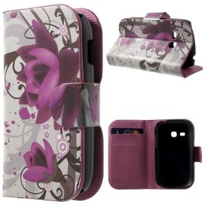 Lotus Flower Stand Leather Cover w/ Card Holder for Samsung Galaxy Fame Lite S6790