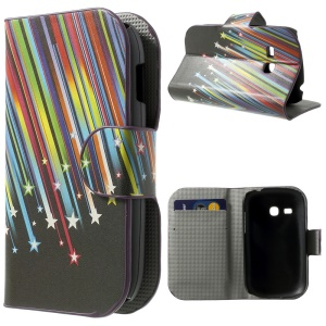 Shooting Stars PU Leather Stand Cover w/ Card Holder for Samsung Galaxy Fame Lite S6790