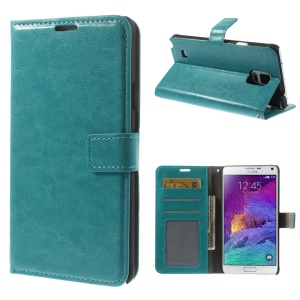 Blue Crazy Horse Stand Leather Wallet Cover for Samsung Galaxy Note 4 N910