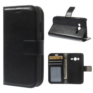 Crazy Horse Wallet Leather Case for Samsung Galaxy Ace NXT SM-G313H SM-G313HZ / Ace 4 LTE G313F / S Duos 3 SM-G313HU with Stand - Black