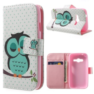 Protective Stand Leather Wallet Cover for Samsung Galaxy Ace NXT G313H - Sleepy Green Owl
