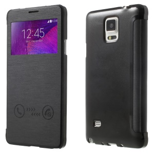 Slide Answer/Reject View Window Leather Flip Case for Samsung Galaxy Note 4 N910 - Black